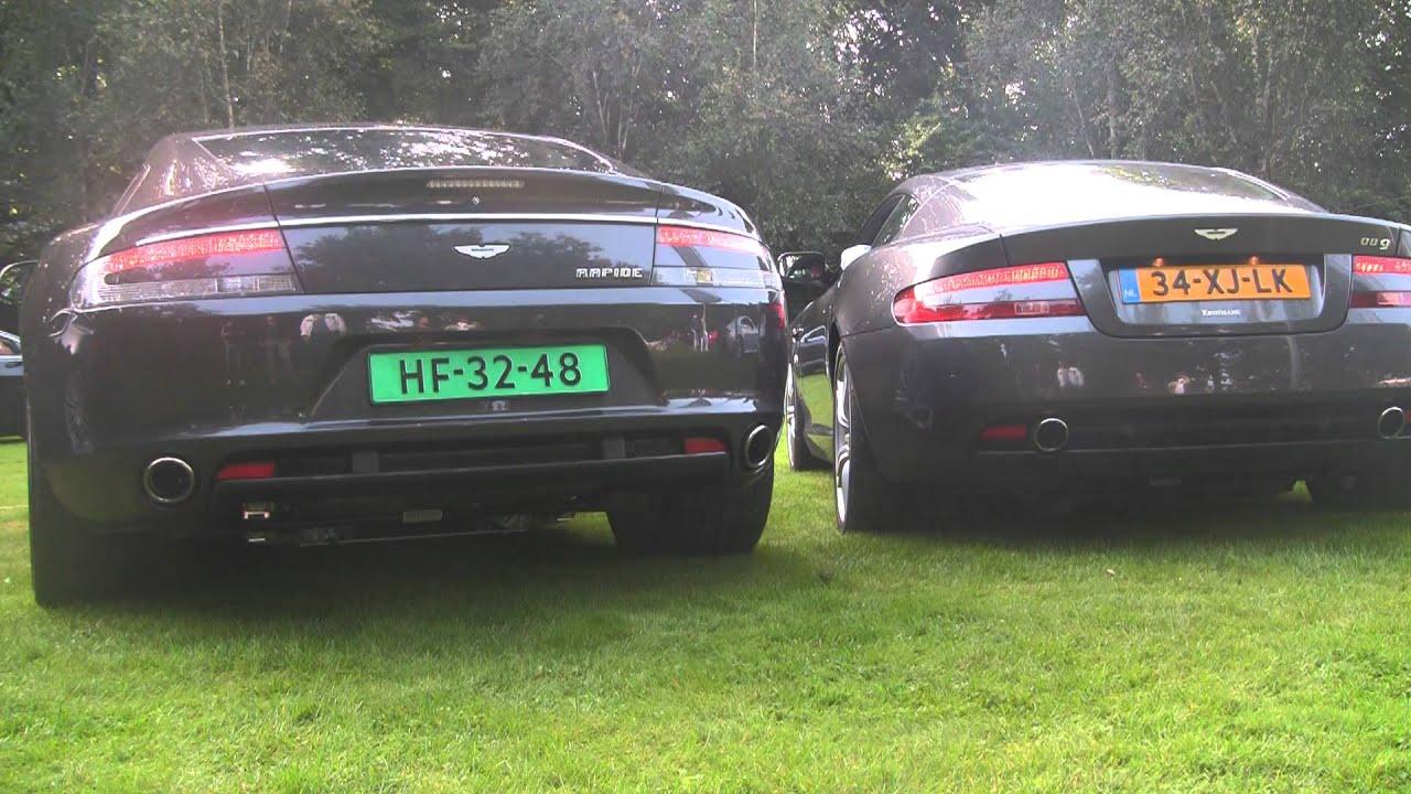 Aston Martin Rev Battle Db9 Rapide V8 Vantage V12 Vantage Revving Hard Youtube