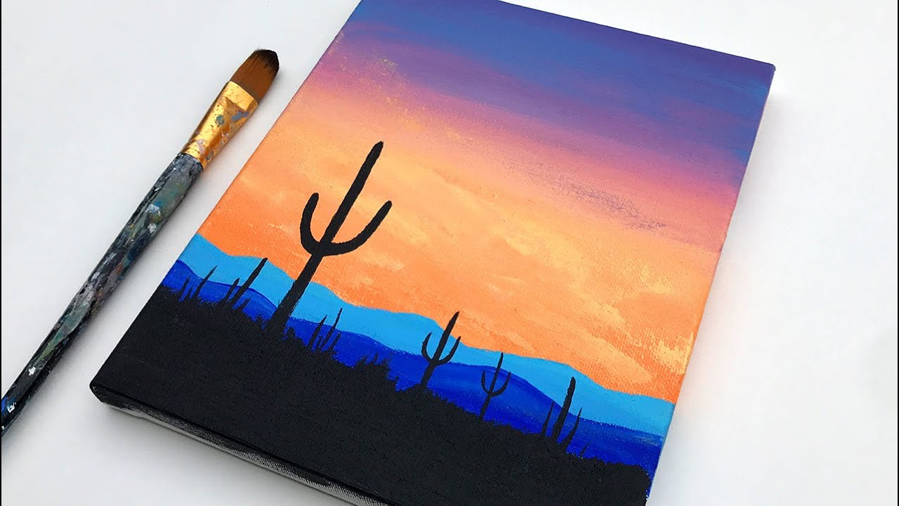 Acrylic Painting For Beginners Cactus Simple Sunset Easy Acrylic Painting Tutorial On Canvas Youtube