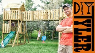 Part 1: https://youtu.be/JejhPPF_6Nc This wooden swing set is epic, it has everything, tub slide, monkey bars, a bridge, multiple ...