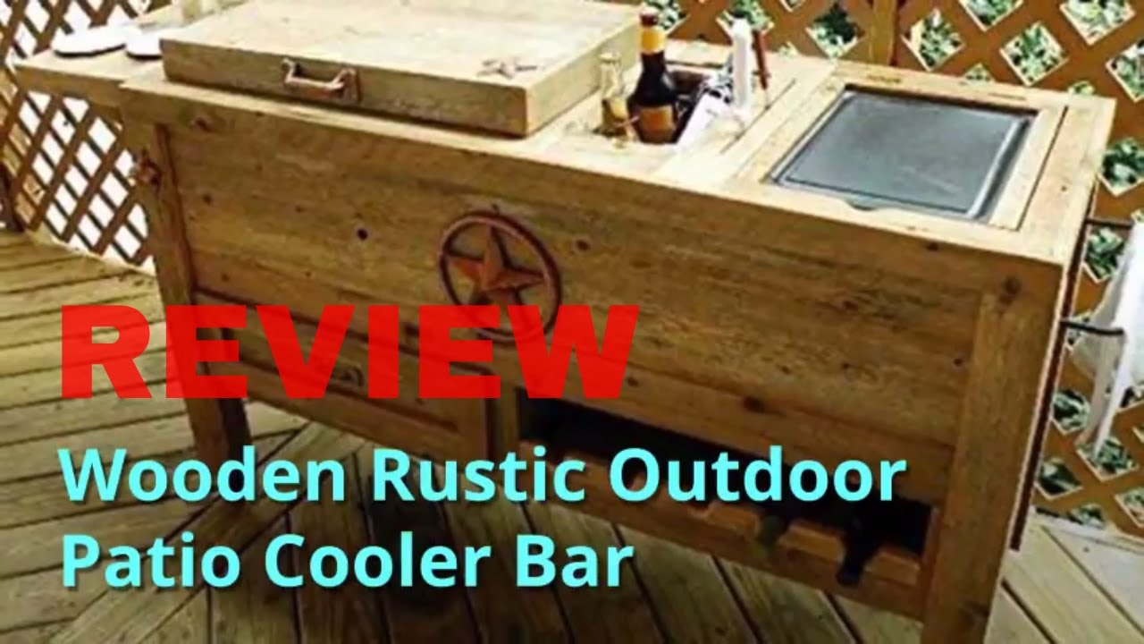 Wooden Rustic Outdoor Patio Cooler Bar