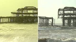 Brighton Pier before and after Feb 2014 storm - BBC News