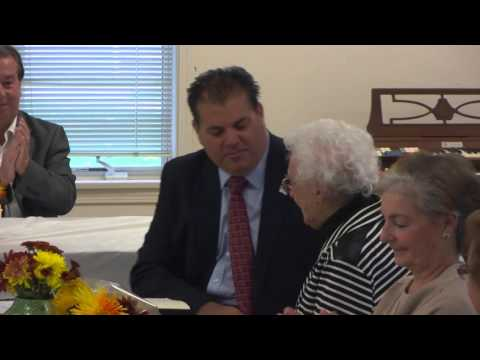 Kathleen Roberts is presented the Boston Post Cane (10/24/15)
