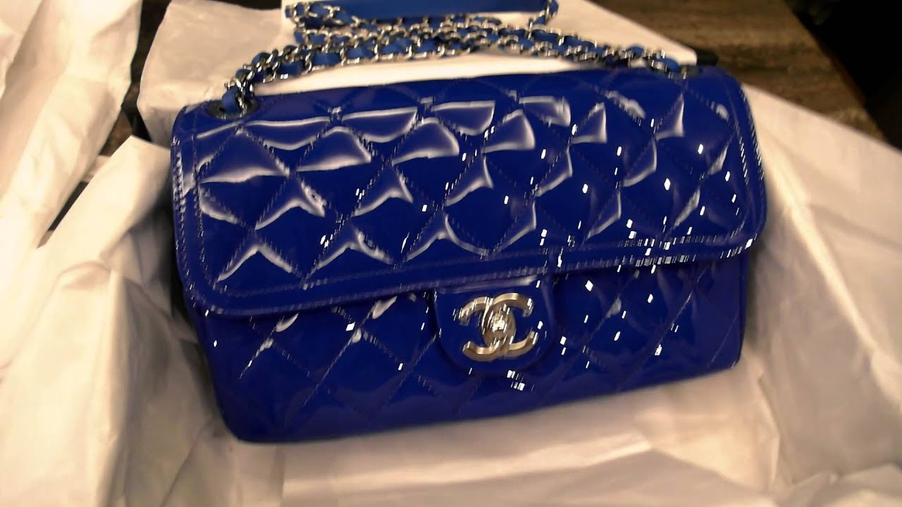 000fb40e3450 Lizzieasamummy  Chanel Coco Shine Bag Electric Blue Patent Unboxing ...