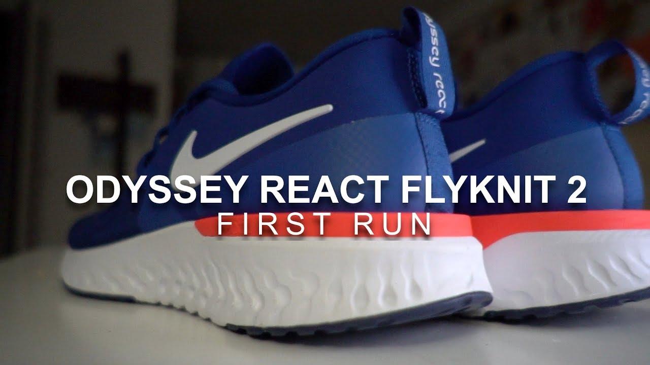 a1a33454dcab Odyssey React Flyknit 2 - First Run - YouTube