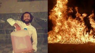 مصطفى المومري يحرق دباب البترول# ازمة البترول في اليمن# لايفوتك#
