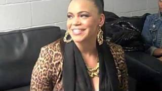 Faith Evans sings the National Anthem at the Clippers vs. Lakers game on 1/14/12