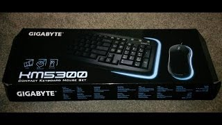 Gigabyte KM5300 keyboard and mouse set unboxing