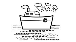 How To Draw Ship Coloring Pages For Children - Draw A Toy Ship For Kids - Kids Learning Channel