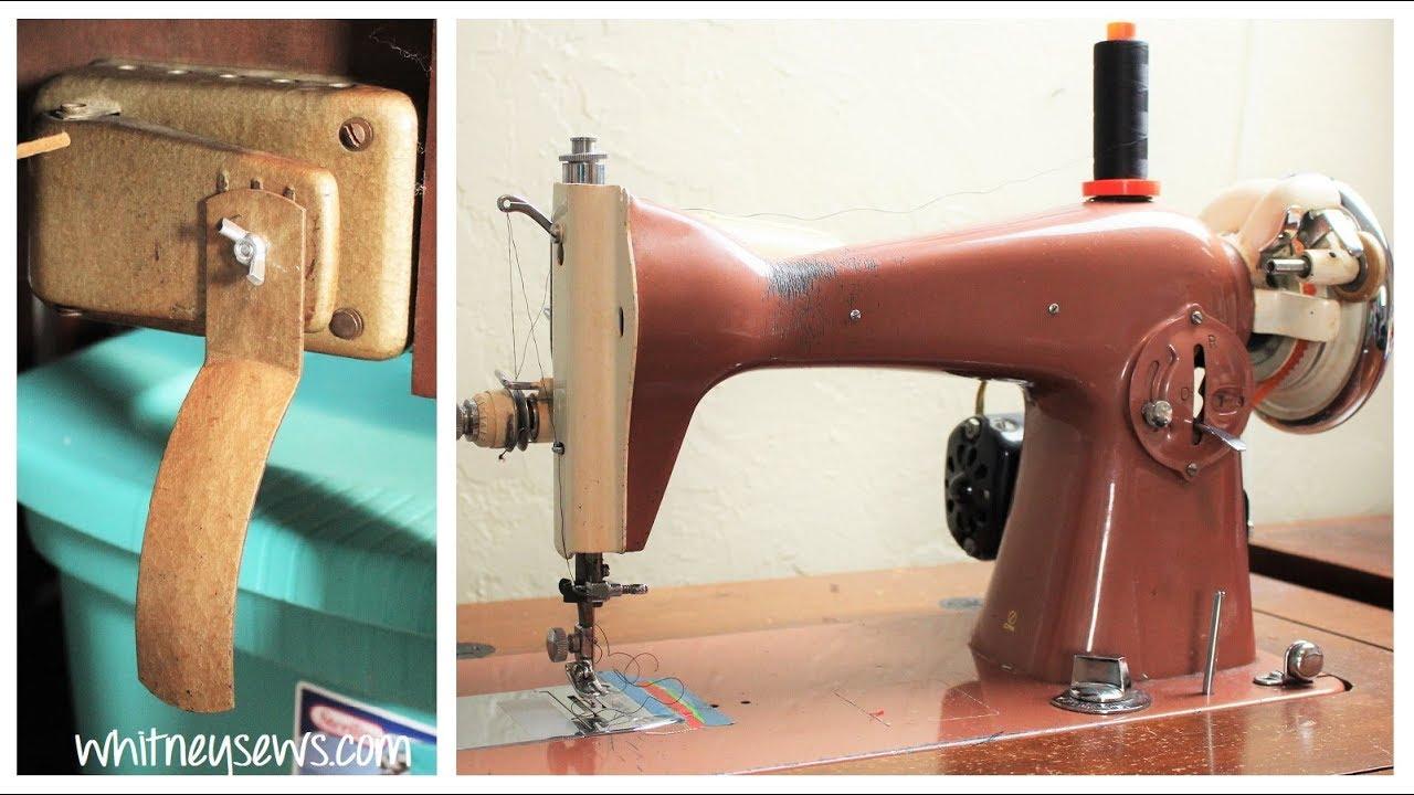 vintage sewing machine knee pedal repair how to whitney sews [ 1280 x 720 Pixel ]