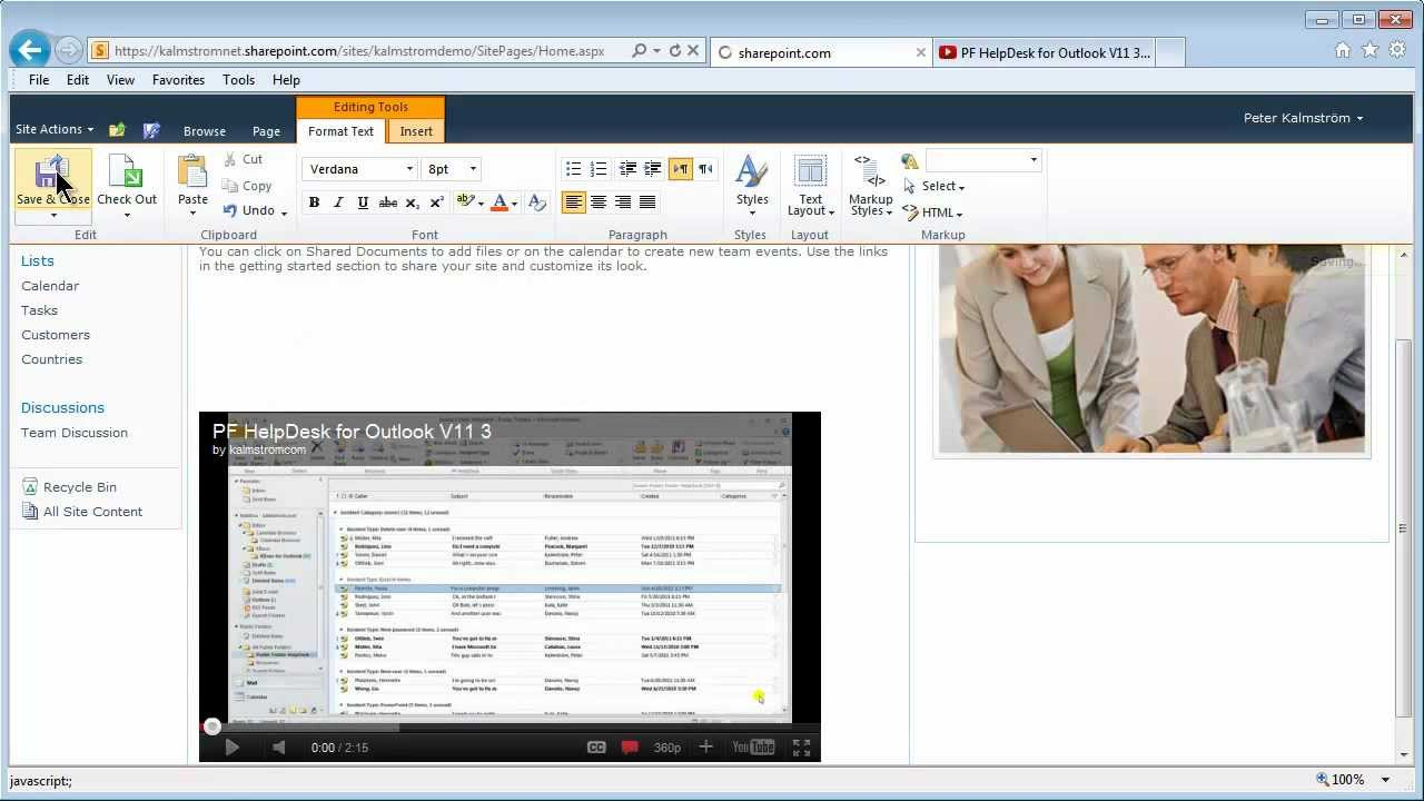 Embed a YouTube video in a SharePoint site with the help of