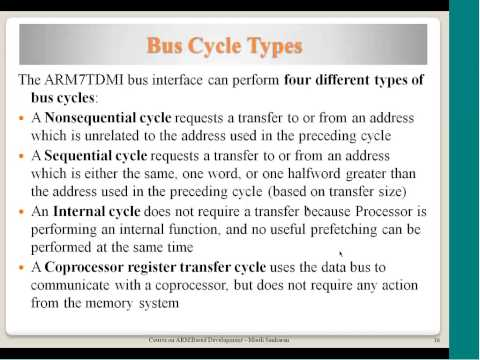 Processor core VS CPU core, ARM7TDMI Interface signals, Memory Interface, Bus Cycle types