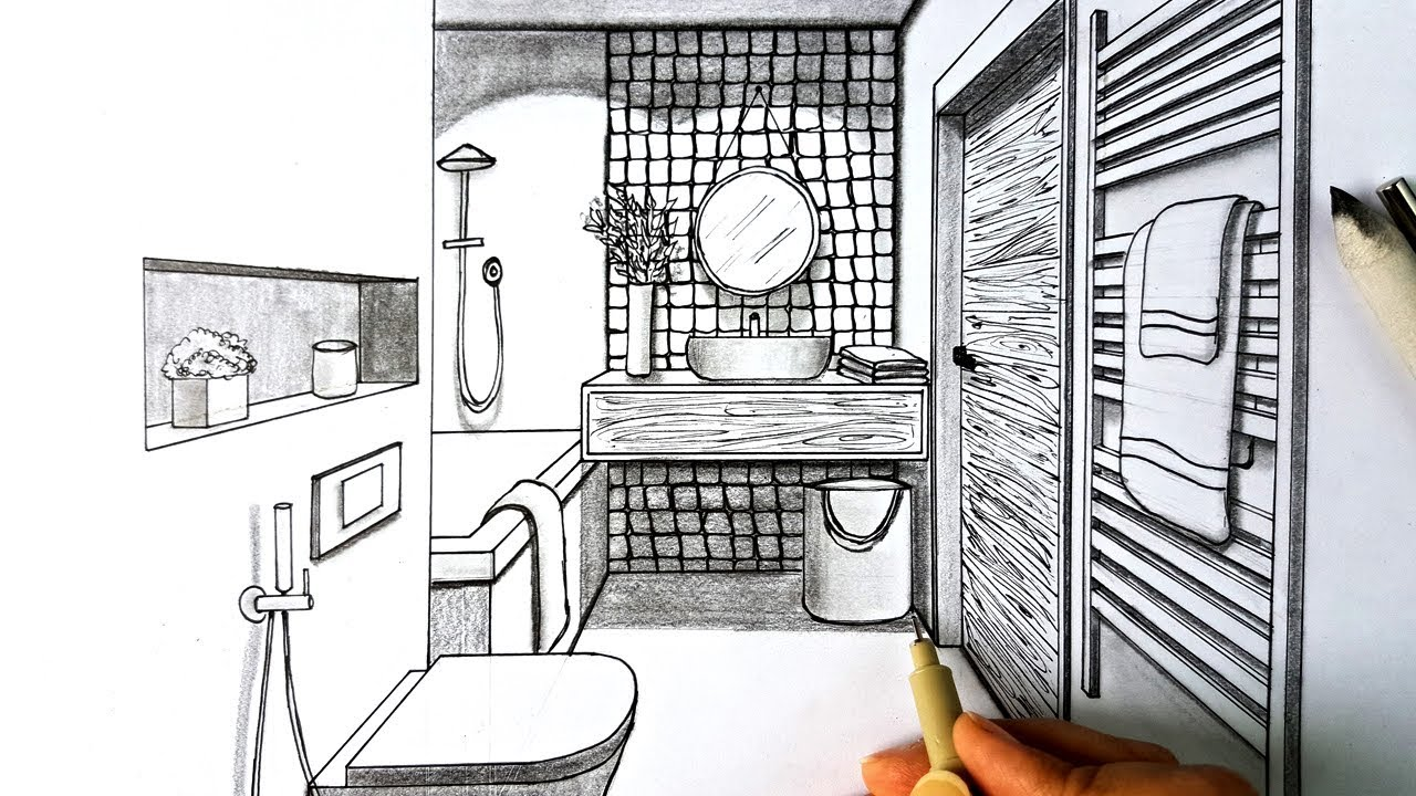 Drawing A Bathroom In One Point Perspective Timelapse Youtube