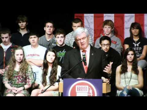 Gingrich speaks at Barrington High School