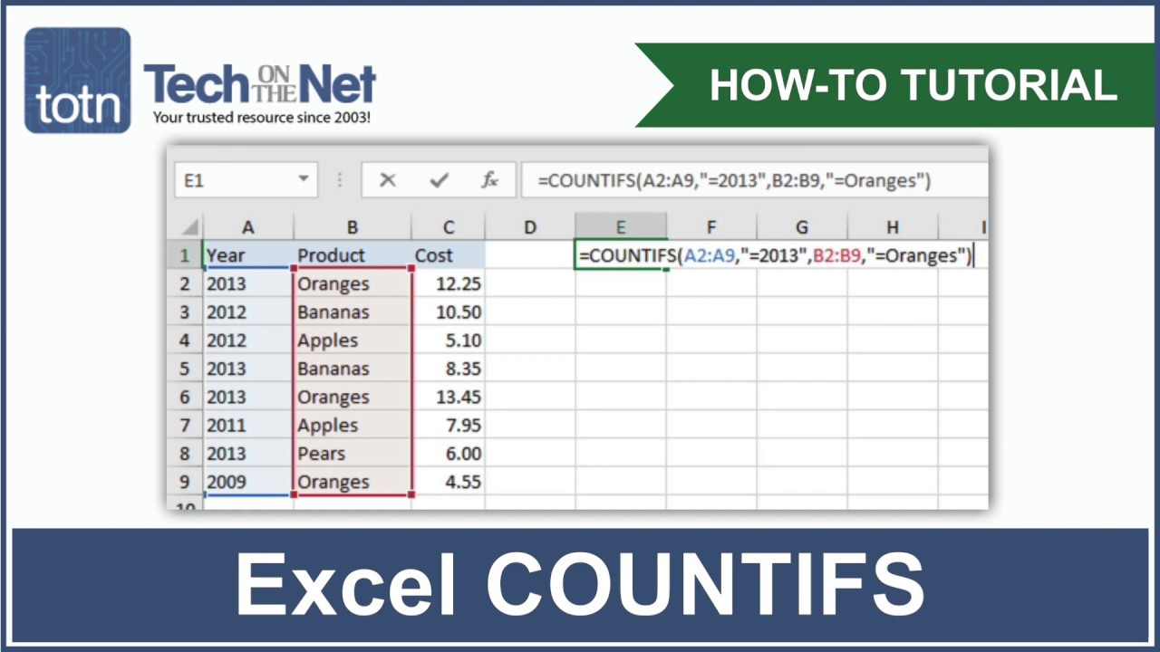 How to use the COUNTIFS function in Excel