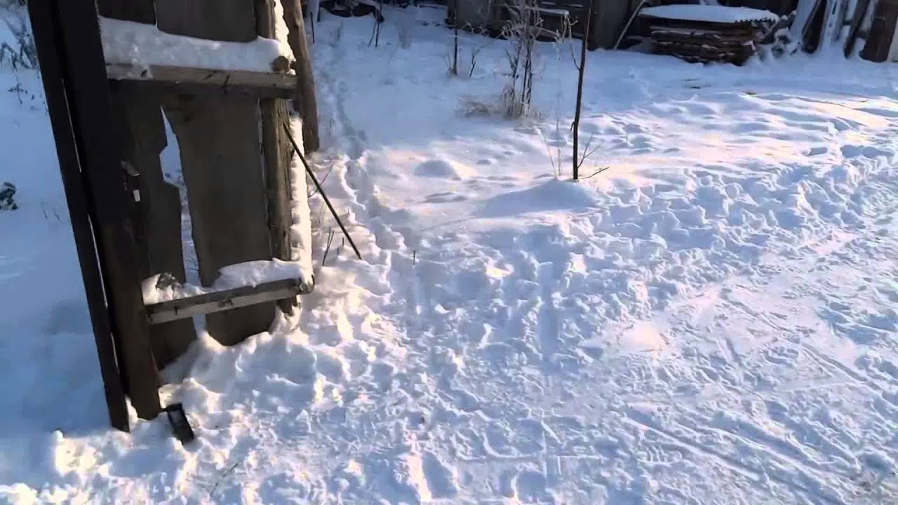 Откатные ворота в зимнее время - YouTube