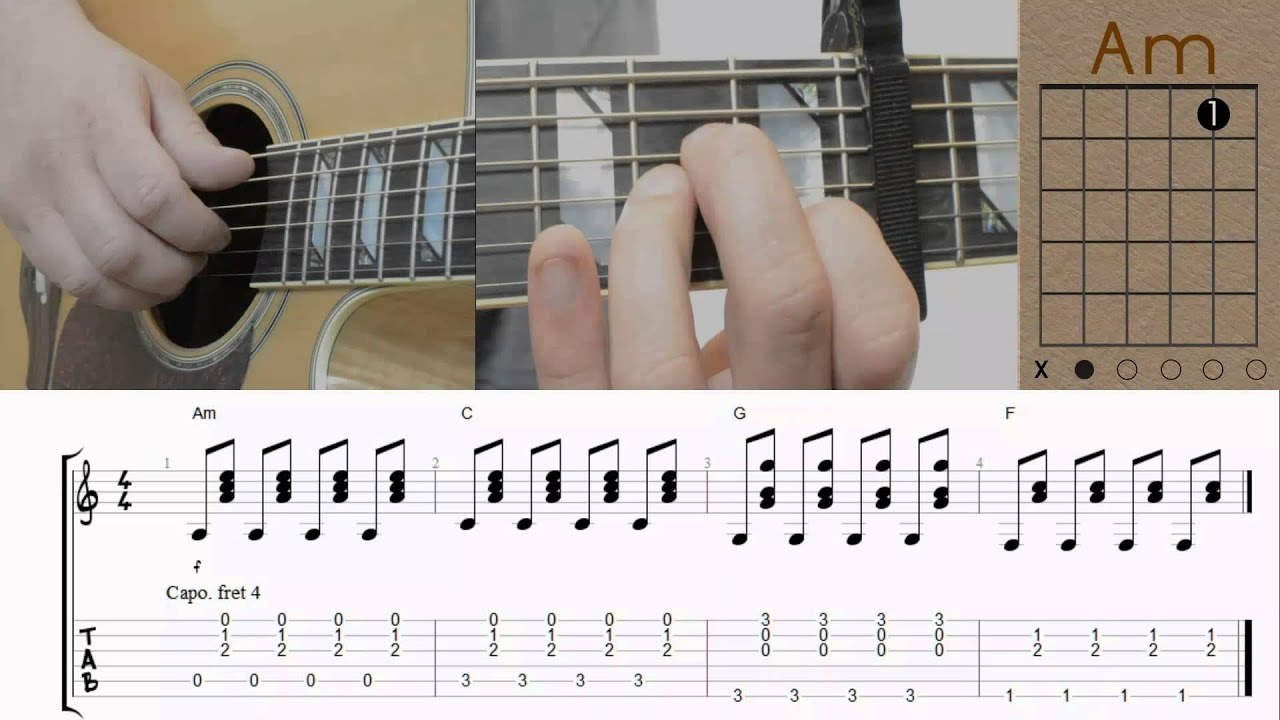 One Republic Counting Stars I Slow Version I Tutorial Guitar
