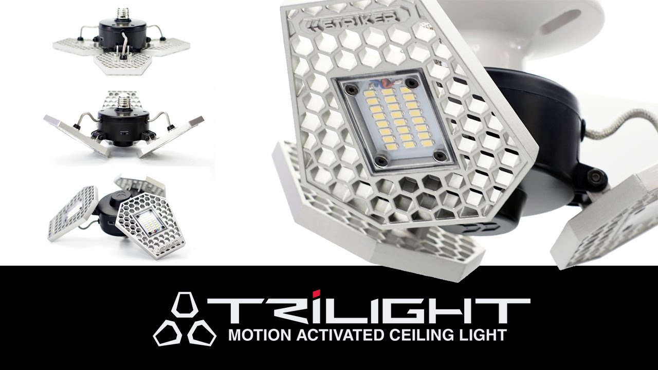 Striker trilight motion activated ceiling led light for your striker trilight motion activated ceiling led light for your garage basement attic etc mozeypictures Image collections