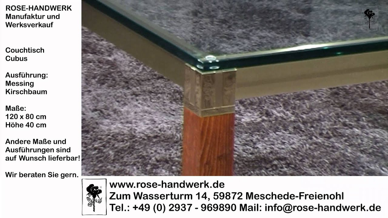 couchtisch cubus metall messing holz kirschbaum glas youtube. Black Bedroom Furniture Sets. Home Design Ideas