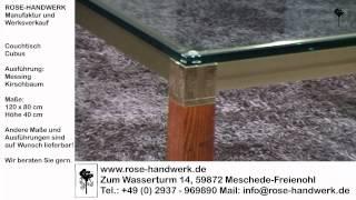 Couchtisch Cubus Metall Messing Holz Kirschbaum Glas