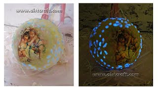 Glow in the dark - Christmas ball ornament decoupage tutorial