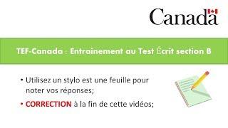 TEF-CANADA : Préparation 1 au Test de Compréhension Écrite section B