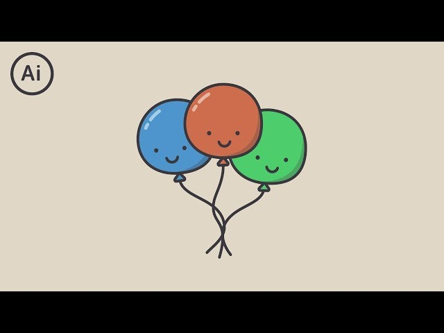 Cute Balloons Character Design | Illustrator Tutorial