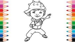 How to Draw BoBoiBoy for Kids Learning Colors Drawing Coloring Pages for Children