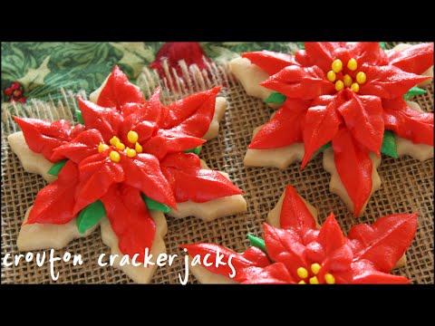 Christmas Poinsettia Sugar Cookies!! - YouTube
