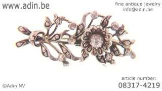 Dutch gold silver Victorian rose cut diamond flower branch brooch. (Adin reference: 08317-4219)
