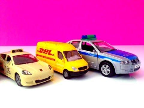 police car taxi bus and dhl car kids toys
