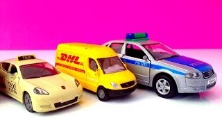 Police car, Taxi, Bus and DHL car Kids Toys