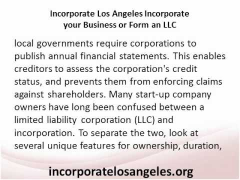Incorporate Los Angeles Incorporate your Business or Form an LLC