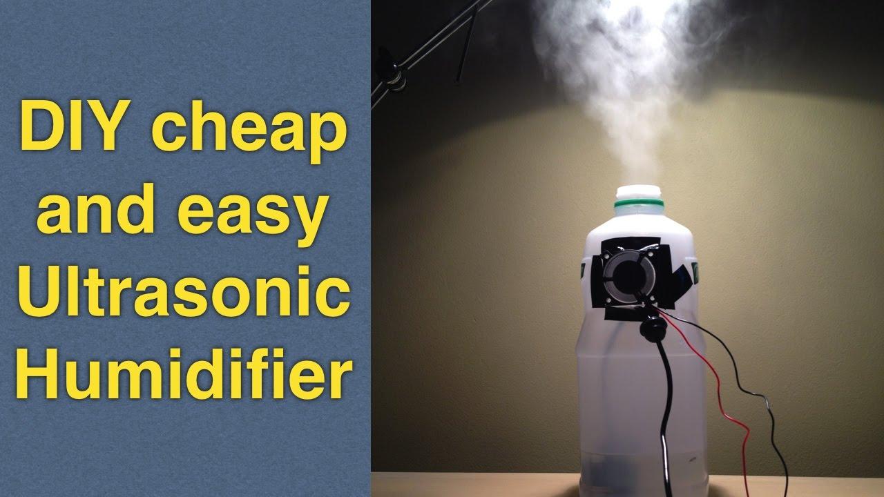 Homemade humidifier DIY using cheap ultrasonic mist maker  fogger for less than 10$  YouTube