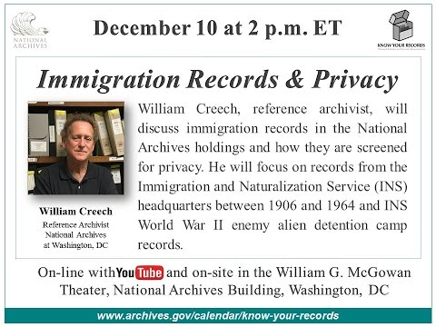 Immigration Records & Privacy (2015 Dec. 10)