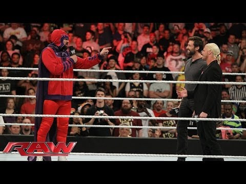"Raw guest star Hugh Jackman is confronted by ""Magneto"": Raw, April 28, 2014"