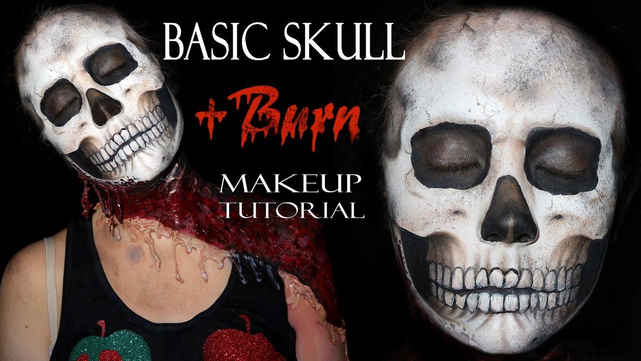 Basic Realistic Skull Makeup tutorial + burn makeup - YouTube