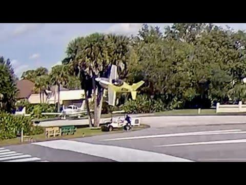 Experimental Plane Crashes On Landing, Nearly Striking Man In Golf Cart