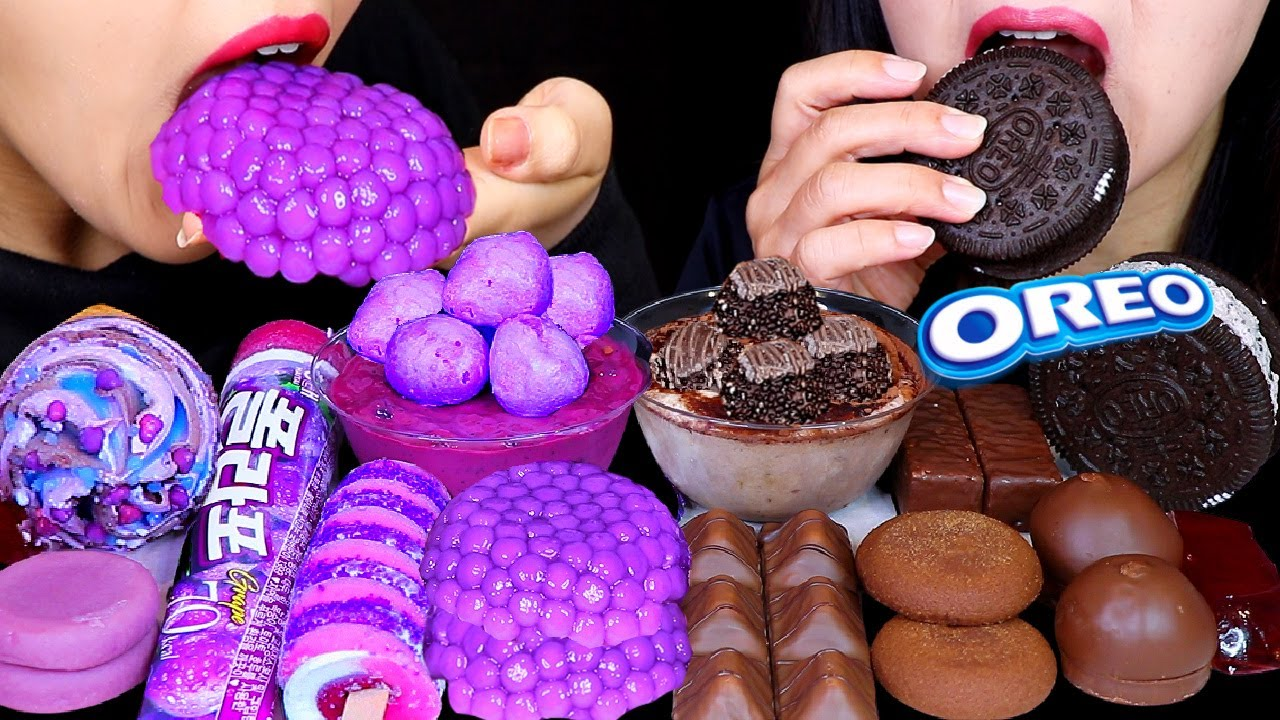 ASMR PURPLE BOBA BALL, OREO ICE CREAM, GALAXY ICE CREAM, GRAPE ICE BAR, CHOCOLATE MARSHMALLOWS 먹방