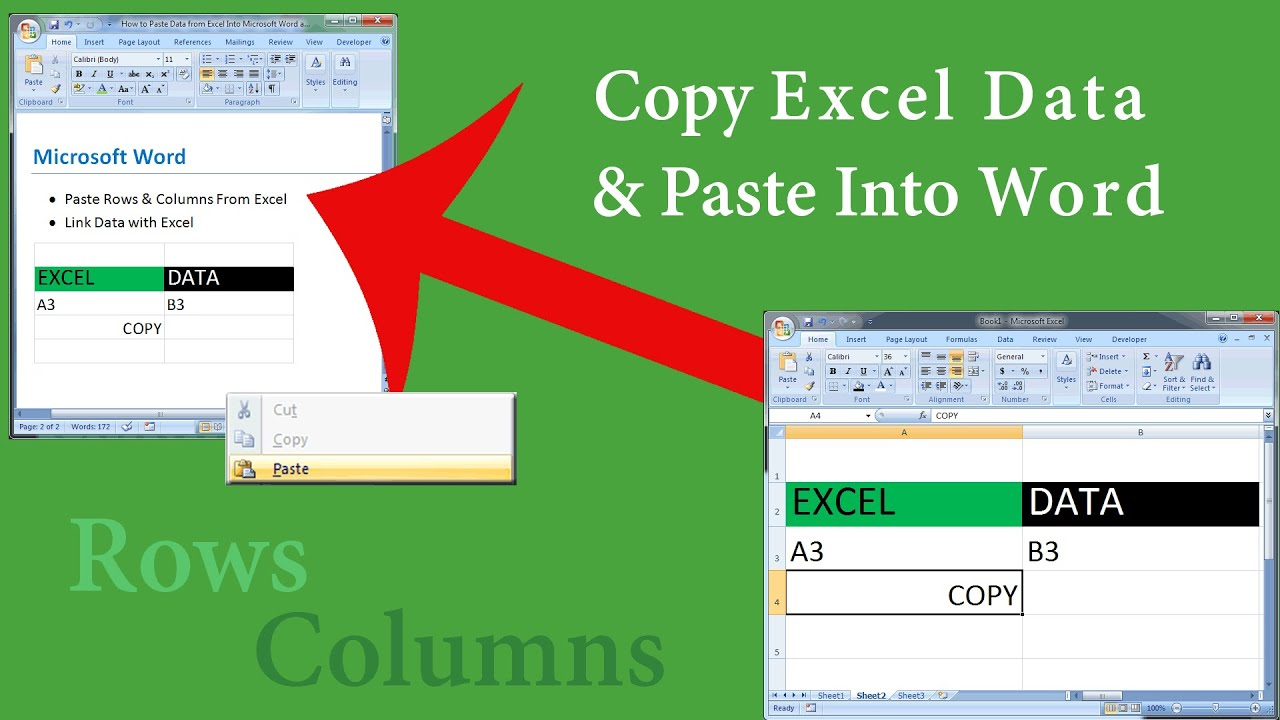 worksheet Link Data In Excel Worksheets how to paste excel data into microsoft word retain remove or link the formatting youtube