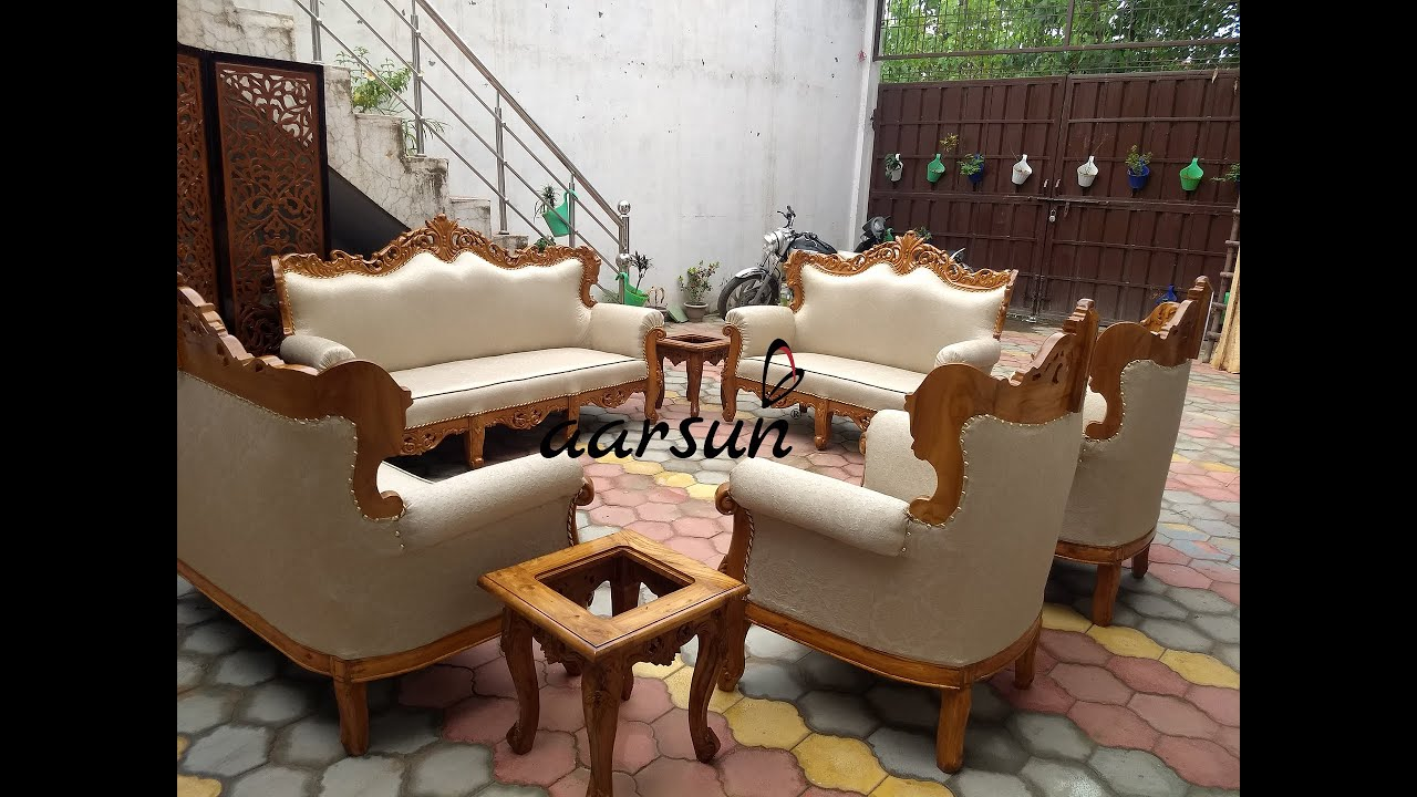 132 Premium Sofa Set Solid Teak Wood Factory Prices Best Quality Aarsun Crafted In India Youtube