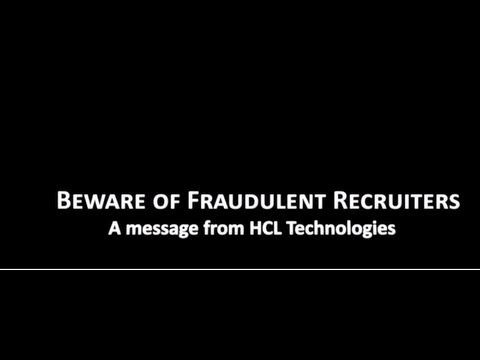 Beware of Fraudulent Placement Agencies and Individuals  - A Message from HCL Technologies