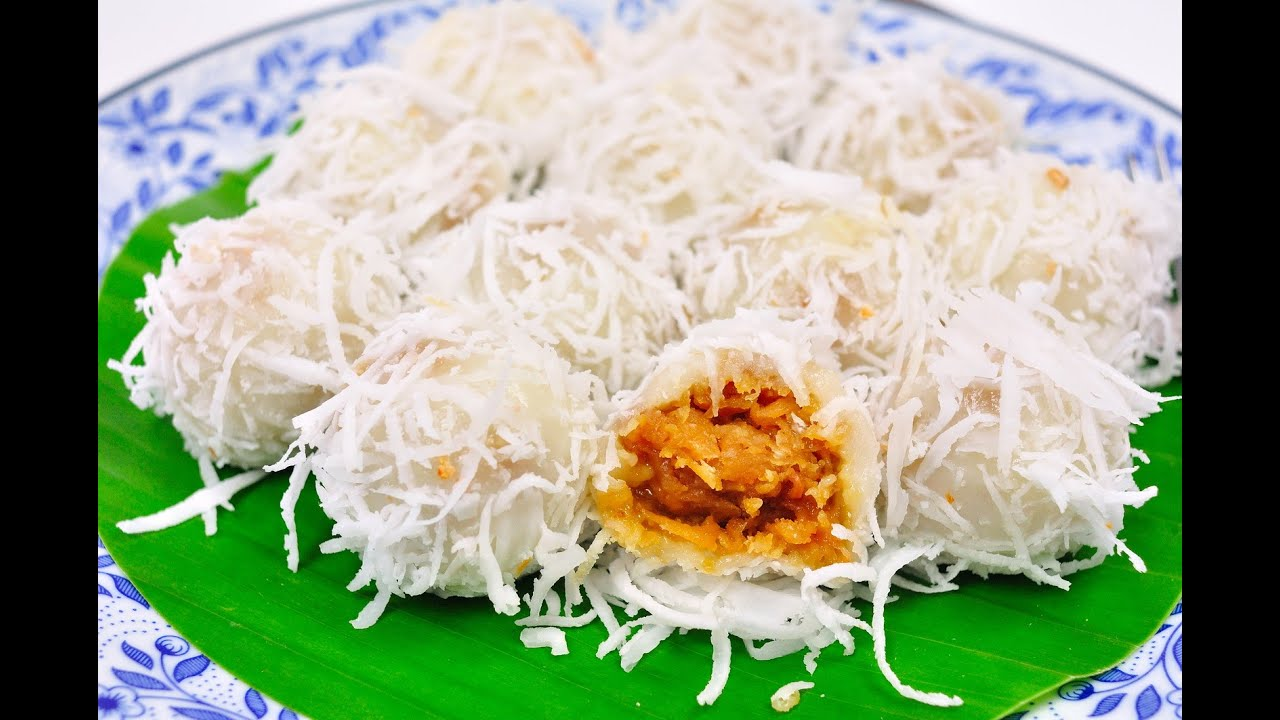 Coconut Ball Thai Traditional Dessert Ka Nom Tom Youtube