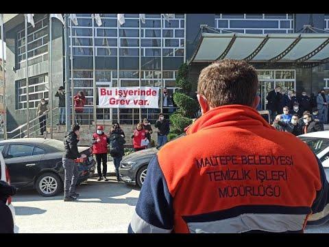 Genel-İş Şube Yönetimi Maltepe Belediyesi işçilerinin grevine dair açıklama yapıyor