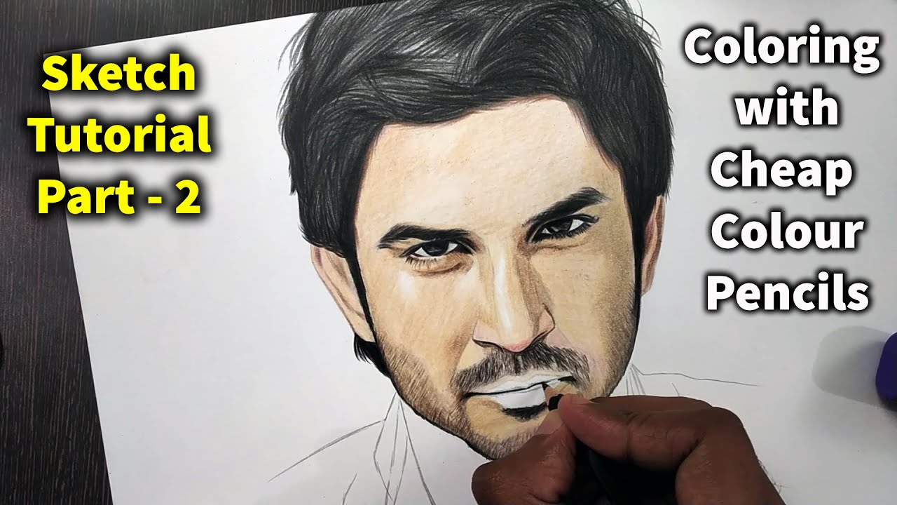 Sushant Singh Rajput Sketch tutorial Part 2 || How to draw SKIN with Coloured Pencils