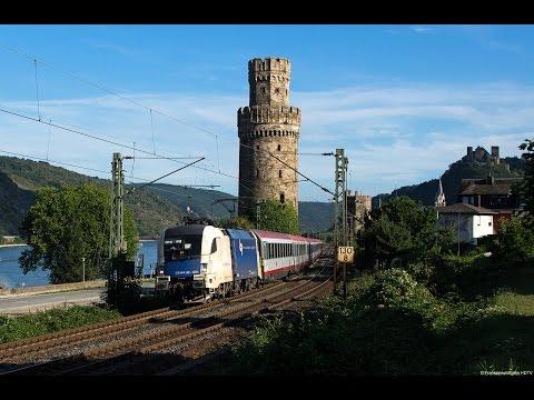 Güterverkehr im Blockabstand zwischen Mainz und Koblenz im Rheintal am 29.08.2015