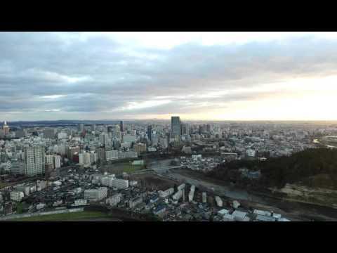 ドローン撮影 朝の仙台市街並み [1184V-000014-arc]