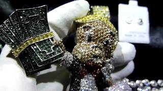 CUSTOM Lab Made Diamond RICHIE RICH Pendant+Cluster Chain+Bracelet+360 ring! LAB MADE JEWELRY