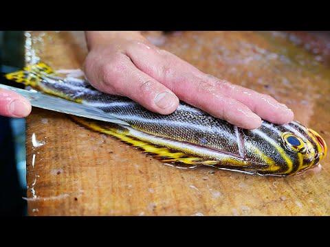 Japanese Street Food - TIGER FISH SASHIMI Fish Fry Okinawa Seafood Japan