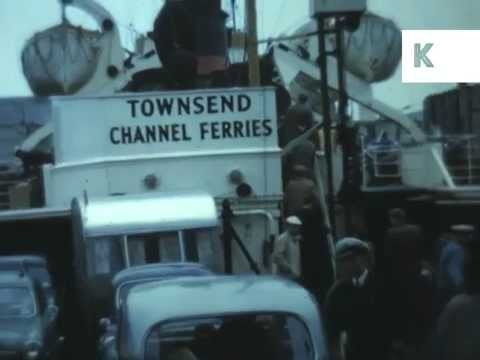1950s Dover, Port, Car Ferry, Colour 16mm Home Movies, UK Archive Footage