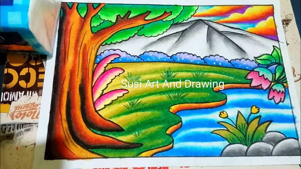 Cara Menggambar Dan Mewarnai Pemandangan Alam Mudah Dengan Gradasi Crayon
